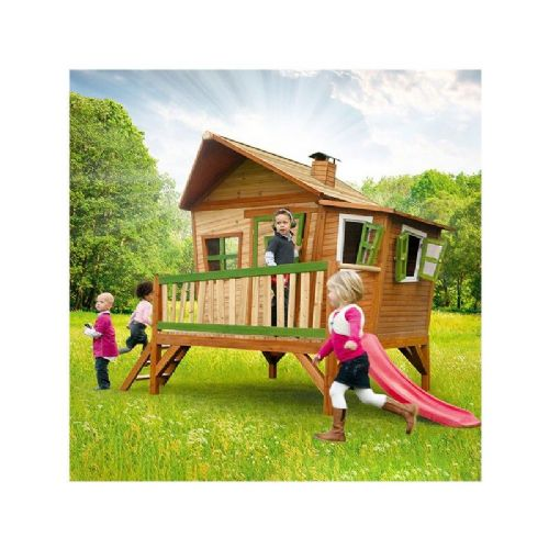 Walcott Playhouse - Jumbo Wacky Wooden Wendy House with Slide and Porch